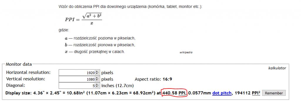 """wzór na PPI z Wikipedii oraz wynik w kalkulatorze dla Galaxy S4 (5"""" FullHD)"""